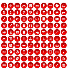 100 creative idea icons set red vector