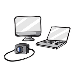 a computer a laptop and a camera vector image