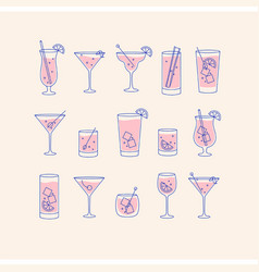 alcohol drinks and cocktails icon flat set beige vector image