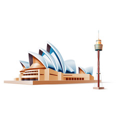 australia landmark sidney theater tower 3d vector image