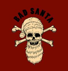 bad santa santa claus skull design element for vector image