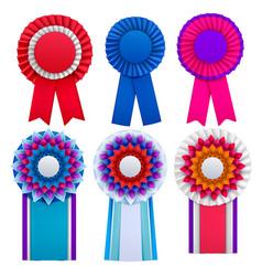 badges rosettes realistic set vector image