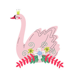 beautiful pink swan princess with golden crown and vector image
