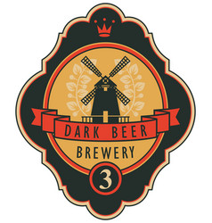 Beer label with windmill laurel wreath and ribbon vector