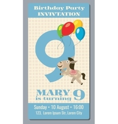 Birthday party invitation card with cute horse vector