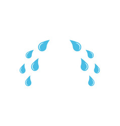Blue cry tears icon cartoon drops from eyes vector