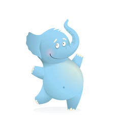 Blue elephant funny cute bacharacter for kids vector