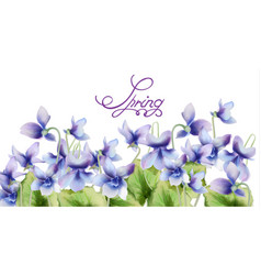 blue spring flowers bouquet card watercolor vector image