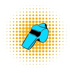 Blue whistle icon comics style vector image