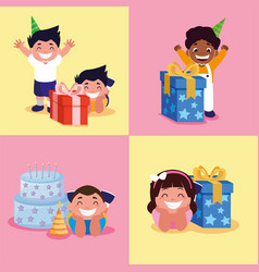 Boys and girl with happy birthday cake and gifts vector