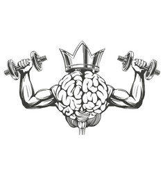 brain and crown with strong hands brain training vector image