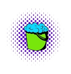 Bucket with foamy water icon comics style vector image