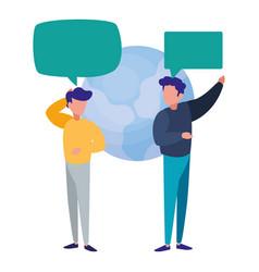 Businessmen world speech bubble dialogue vector