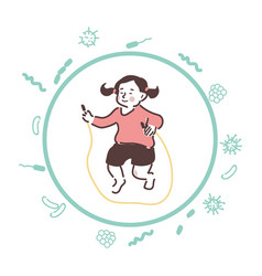 Carefree girl jumps with a skipping rope her body vector