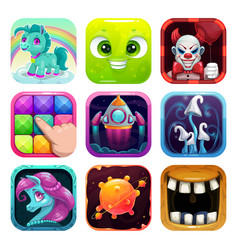 cartoon app icons set funny square logo pictures vector image