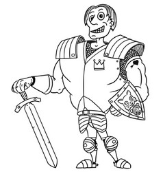 Cartoon medieval fantasy hero knight prince vector