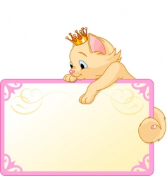 cat princess invite or placard vector image