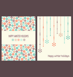 Christmas greeting cards with snowflakes vector