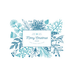 Christmas hand drawn greeting card template vector