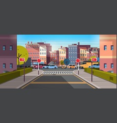 City street building urban traffic cars on road vector