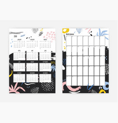 collection of 2019 year calendar and monthly vector image