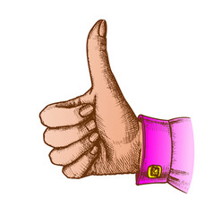 color female hand make gesture thumb finger up vector image