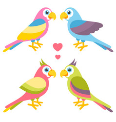 Couples of cartoon colorful parrots in love vector