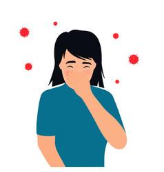 covid19-19 coronavirus symptoms the kid coughs vector image