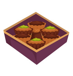 Cupcakes or muffins and chocolate candy in box vector