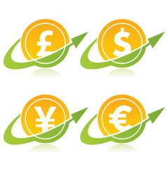 Currency Coins with Arrows vector