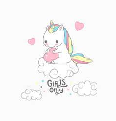Cute baby unicorn girls only typography poster vector