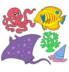 cute marine animals collection 4 vector image