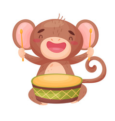 Cute monkey with a drum on vector