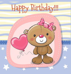 cute teddy bear girl with balloon vector image