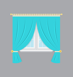 Drapery window isolated object vector