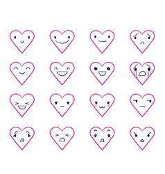 Emoticons doodle hearts 2 vector