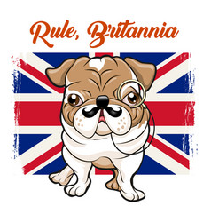 English bulldog with mustaches and monokle vector