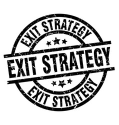 Exit strategy round grunge black stamp vector