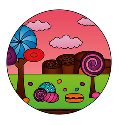 fantasy sweet candies chocolate landscape vector image