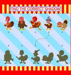 Find correct shadow cartoon cute turkey bird vector