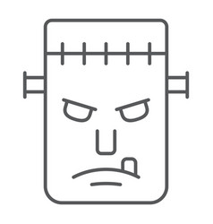 frankenstein thin line icon monster and halloween vector image