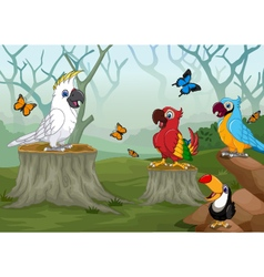 funny bird with deep forest landscape background vector image