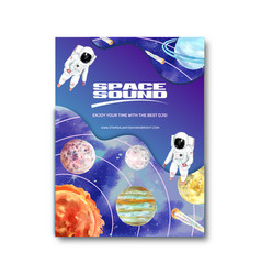 Galaxy poster design with solar system astronaut vector