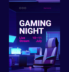 Gaming night poster video game live stream vector