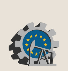 Gear with oil pump textured by european union flag vector