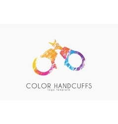 Handcuffs logo design Color handcuffs design vector