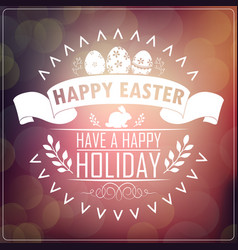 happy easter typography greeting card vector image