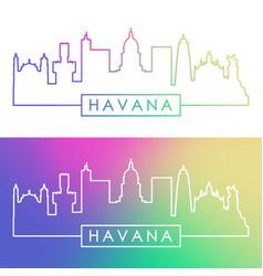 Havana skyline colorful linear style editable vector