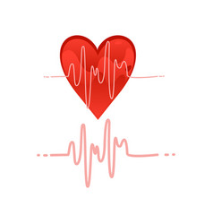 Heartbeat icon with pulse chart on white vector
