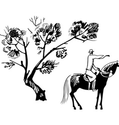 horseman under the tree vector image
